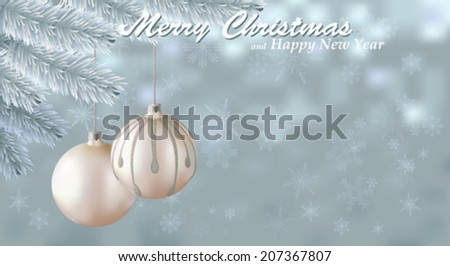 Merry Christmas snow background. Holiday snowy background decorated with spruce branch and Christmas ornaments. Vector