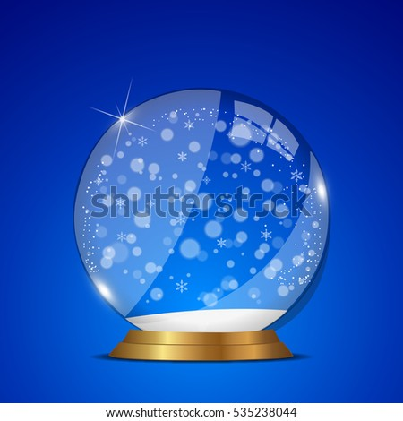 Merry christmas snow globe illustration on a red background