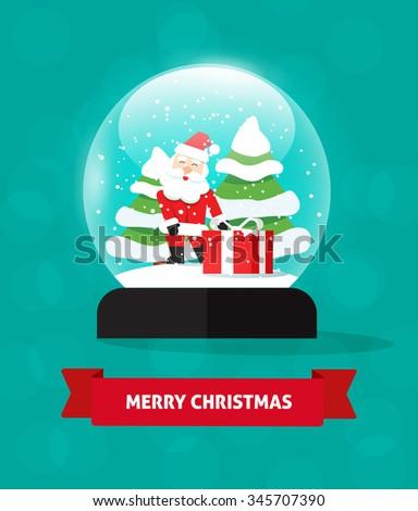 Merry Christmas snow globe with Santa Claus vector illustration isolated, snowglobe snowfall, merry xmas postcard concept, snow globes fir trees, new year holidays card, tree gift, flat symbol design. - stock vector