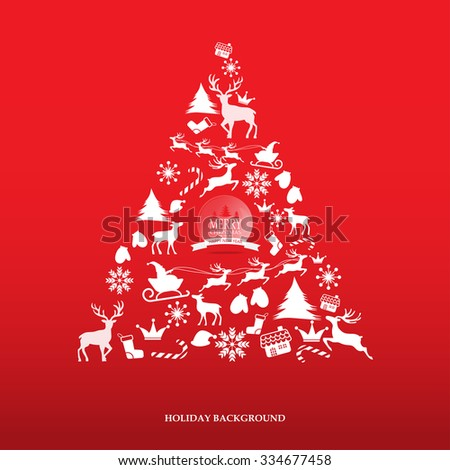 Merry Christmas snowfall scenic greeting card with lettering logo. can be use for background backdrop and web page design, vector illustration. - stock vector