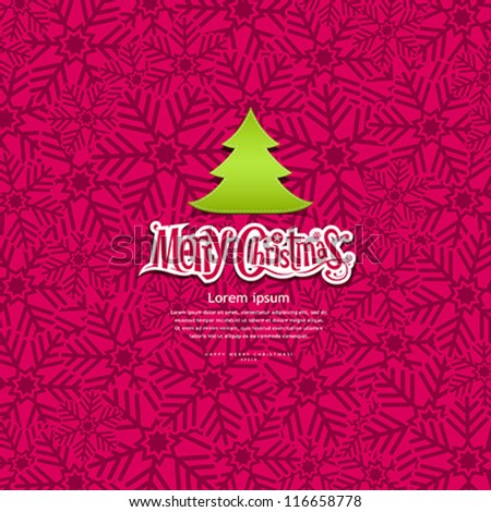 Merry Christmas Snowflake greeting card design background, vector illustration