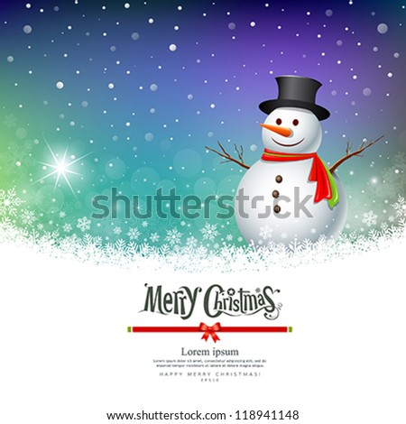 Merry Christmas Snowman Greeting card designs, vector illustration