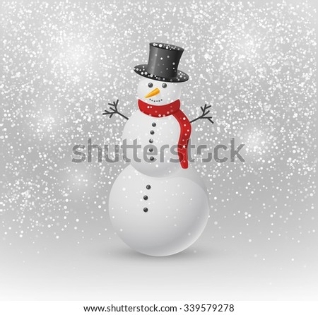 Merry Christmas Snowman Greeting card. Illustration of Snowman on a Background of Snow and Snowflakes. Vector Illustration.  - stock vector