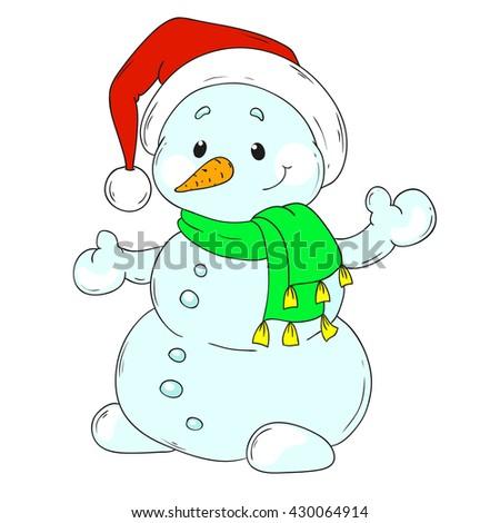 Merry Christmas Snowman. Snowman cartoon character. Vector illustration - stock vector