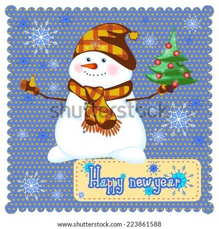 merry Christmas snowman with Christmas tree - stock vector