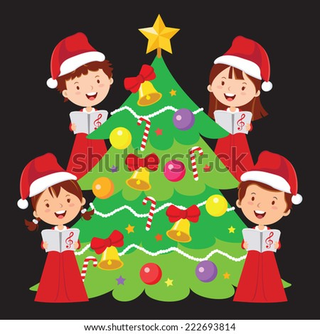 Merry Christmas songs - stock vector