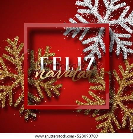 Merry christmas spanish inscription feliz navidad stock vector spanish inscription feliz navidad christmas background red beautiful bright snowflakes m4hsunfo