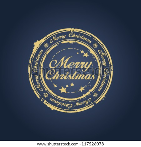 Merry Christmas stamp on blue - stock vector