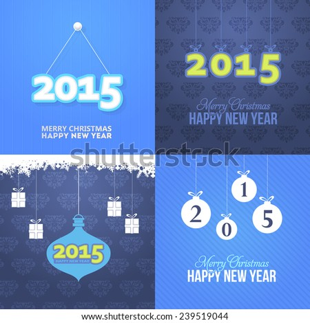 Merry Christmas Stylish Text 2015 Concept and Happy New Year Hanging Badges, Card, Background Set Blue Style - stock vector