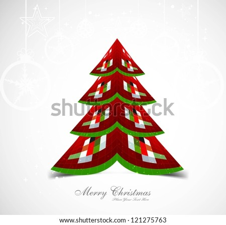 merry christmas stylish tree colorful whit background