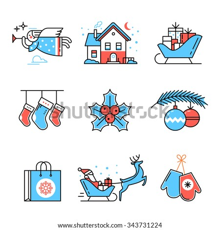 Merry Christmas symbols collection. Flat style thin line art color icons set isolated on white background. - stock vector