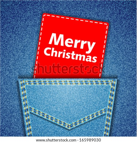 Merry Christmas tag. Blue back jeans pocket realistic denim texture