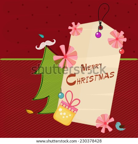 Merry Christmas tag decorated with pink flowers, gift box and X-mas tree on red background. - stock vector