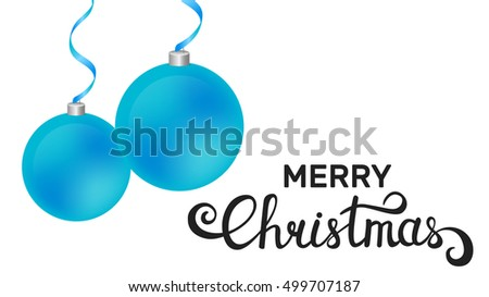 Merry Christmas template. White background with Christmas balls and modern lettering.