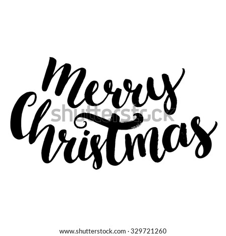 Merry christmas text. Brush calligraphy type, vector lettering isolated on white background. Bold script handwriting. - stock vector