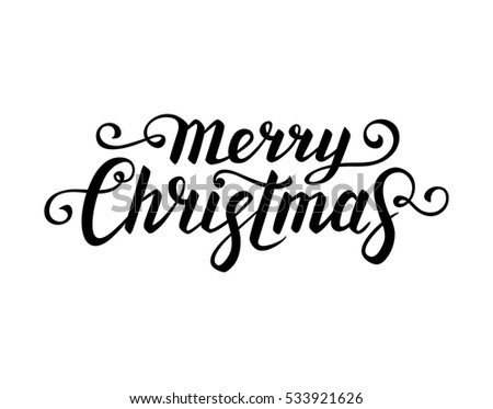 Merry Christmas Text Calligraphic Lettering New Stock Vector
