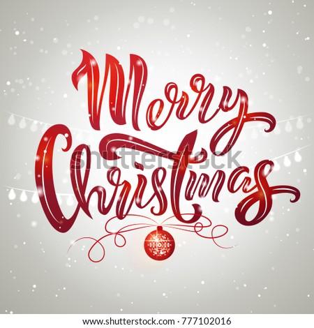 Merry christmas text design christmas tree stock vector 777102016 merry christmas text design with christmas tree ball and garland vector illustration merry christmas maxwellsz