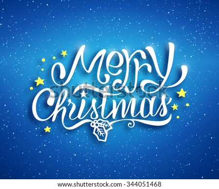 Merry Christmas text lettering for greeting card, prints and web banner. Blue blurred background with bokeh and hand drawn inscription for winter holidays. Vector illustartion - stock vector