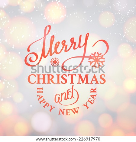 Merry Christmas text on bright bokeh background. Vector illustration. - stock vector