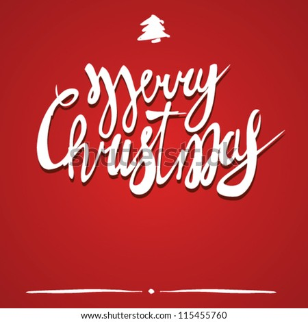 merry christmas text on red background. vector art - stock vector