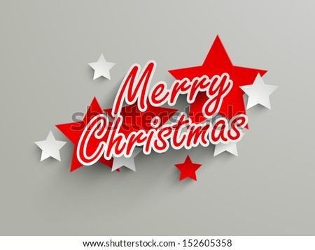 Merry Christmas text on stars background.  - stock vector