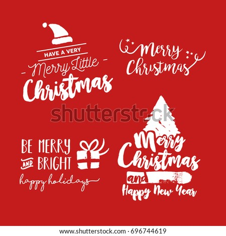 Merry Christmas Text Quote Collection Calligraphy Stock Vector
