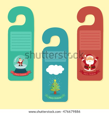merry christmas theme door hanger greeting stock vector 476679886