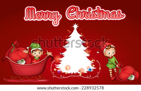 Merry Christmas theme with helping elves - stock vector