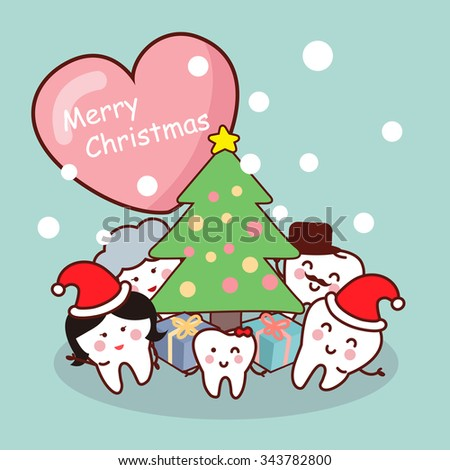 Merry christmas to tooth family , great for health dental care concept - stock vector