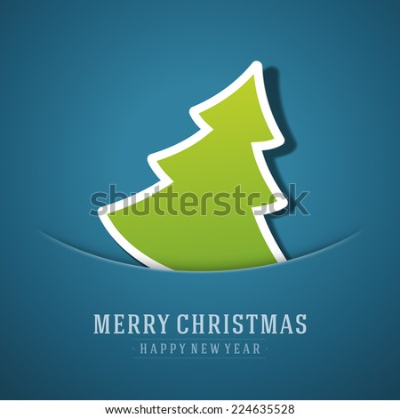 Merry Christmas tree applique background. Christmas card or invitation. Raster version.  - stock vector