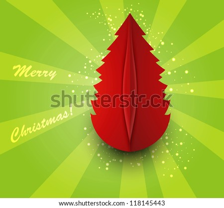 merry christmas tree colorful card  vector