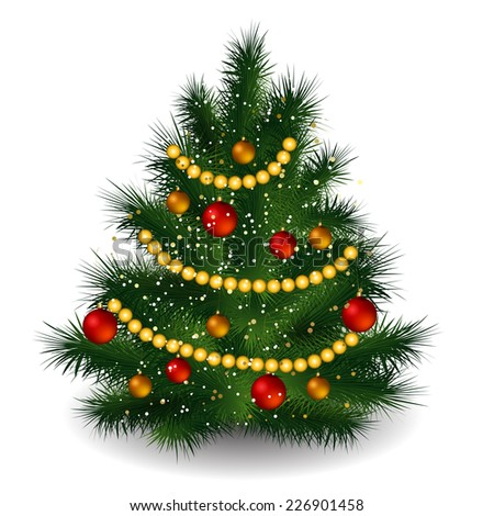 Merry Christmas tree decorated red and gold balls - stock vector