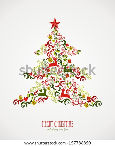 Merry Christmas tree decoration elements composition. Vector file organized in layers for easy editing. - stock vector