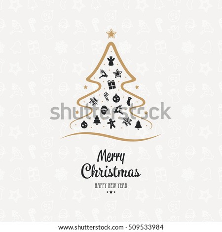 merry christmas tree elements card icon background