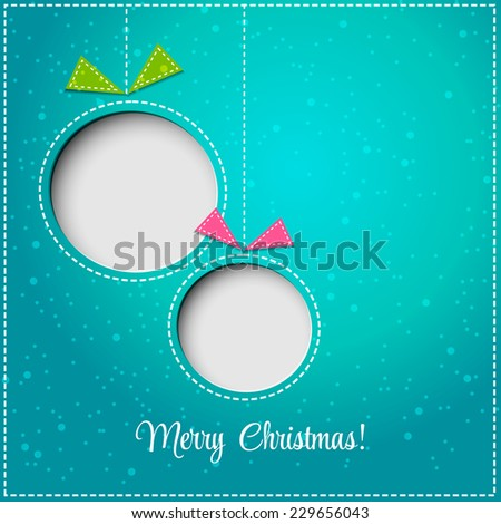 Merry Christmas tree greeting card. Paper design. Vector illustration.