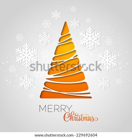 Merry Christmas tree greeting card. Paper design. Vector illustration - stock vector