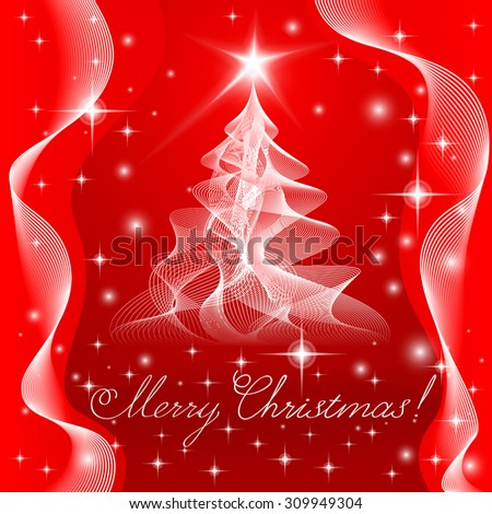 Merry Christmas Tree in guilloche style. Vector EPS10.  - stock vector