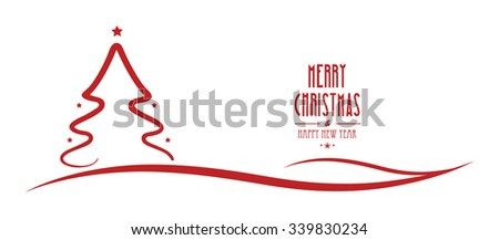 merry christmas tree line red stars - stock vector