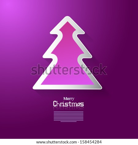 Merry Christmas - Tree Made from Paper - Purple, Pink, Violet Colors - stock vector
