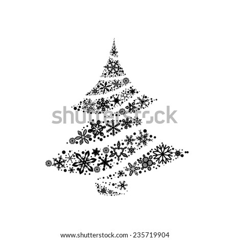 Merry Christmas Tree on a white background. Vector  - stock vector