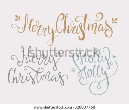 Merry Christmas - tree unique xmas design elements isolated on white backgground. Great design element for congratulation cards, banners and flyers. - stock vector