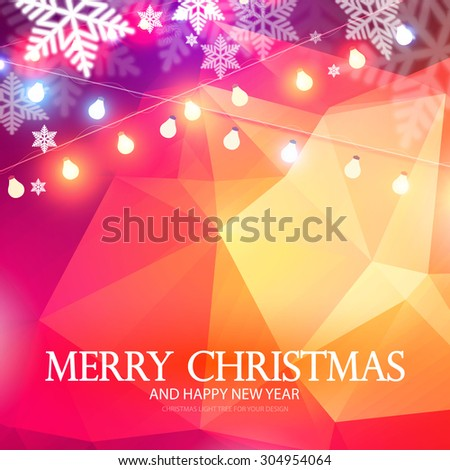 Merry Christmas. Trendy card & shining banner with garland of lights & snow. Triangle holiday design. Vector illustration  - stock vector