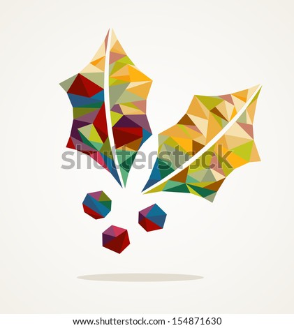 Merry Christmas trendy mistletoe made with colorful triangles composition. EPS10 vector file organized in layers for easy editing. - stock vector