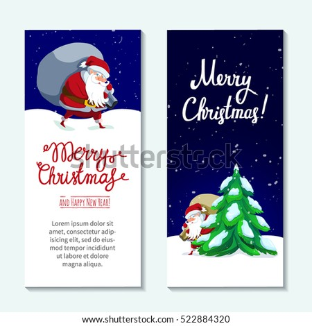 Merry Christmas. Two Cute Holiday Vertical Banners With Santa Claus And  Hand Lettering Greeting