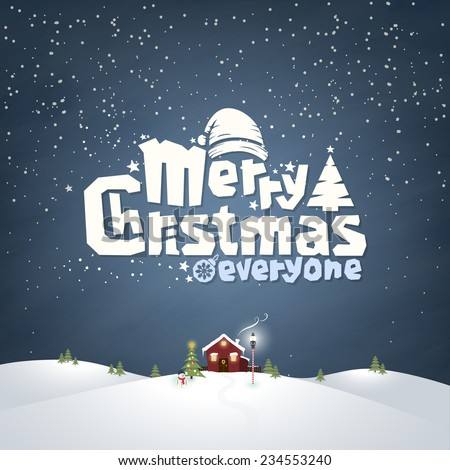 Merry Christmas Typographic Design With Winter Landscape - stock vector