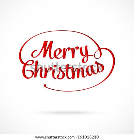 Merry Christmas typographic greeting card - stock vector