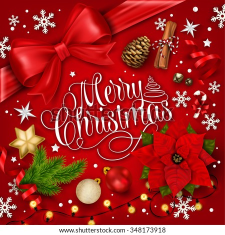 Merry Christmas Typographical Background With Christmas Elements - stock vector