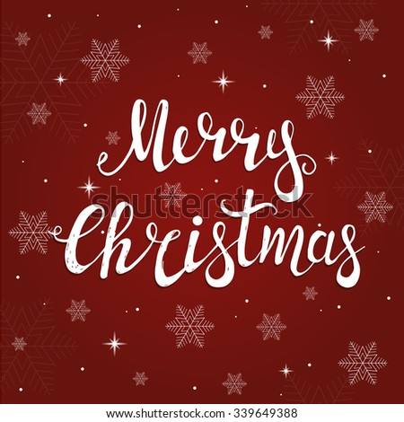 Merry Christmas Typographical Vector Background with Christmas  - stock vector