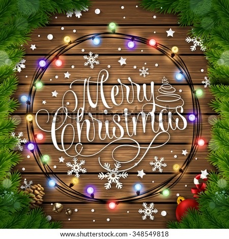 Merry Christmas Typographical Wooden Background With Glowing Colorful Lights and Christmas Tree - stock vector
