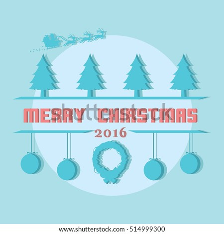 merry christmas typography illustration design